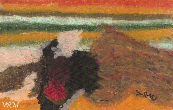 Sleeping Sheep, oil pastel on paper, 5.5x8 inches, available