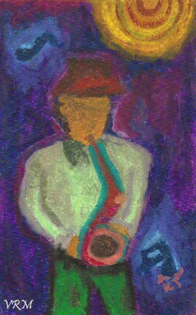 Midnight Serenade, oil pastel on paper, 5.5×8 inches, sold