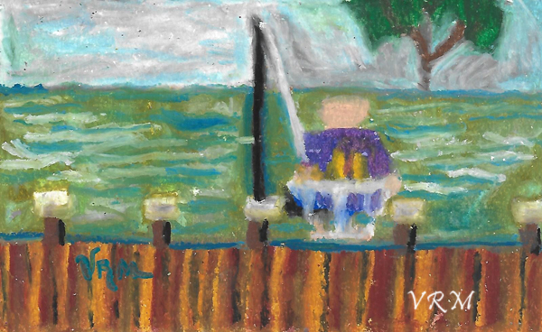 Gone Fishing, oil pastel on paper, 5.5x8 inches, available