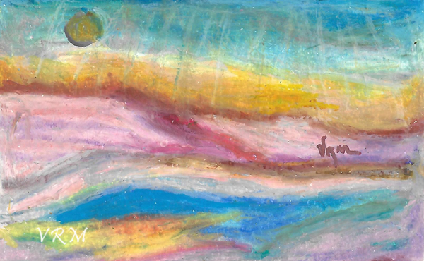 Horizon, oil pastel on paper, 5.5x8 inches, available