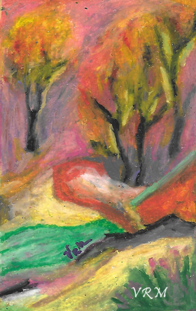 Fantasyland, oil pastel on paper, 5.5x8 inches, available
