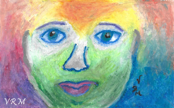 Searching for He, For She, For Me, oil pastel on paper, 5.5x8 inches, available