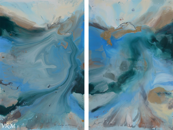 Waves of Change, acrylic, mixed media, and resin on canvas, set of two, 36x54 inches, available