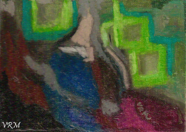 The Indian Woman, oil pastel on paper, 4x6 inches, sold