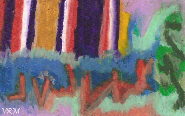 Jagged, oil pastel on paper, 5.5x8 inches, sold