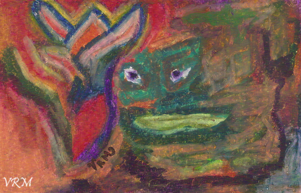 Fiery Emotions, oil pastel on paper, 5.5×8 inches, for sale