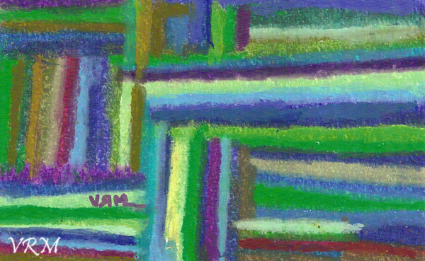 Straight Shot From A-B, oil pastel on paper, 5.5x8 inches, available