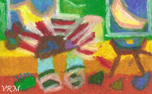 Bedtime Story, oil pastel on paper, 5.5x8 inches, available