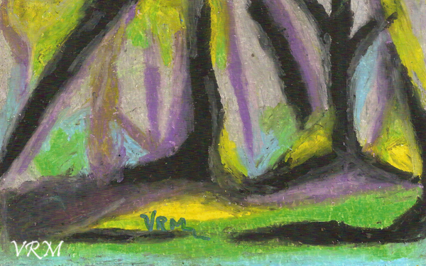Enchanted Forest, oil pastel on paper, 5.5x8 inches, available