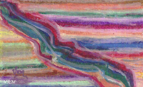 Rainbow River, oil pastel on paper, 5.5x8 inches, available