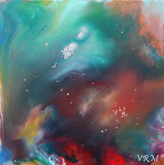 I Dreamed A Dream, acrylic, mixed media, and resin on canvas, 18x18 inches, available