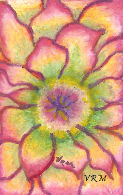 Bloom, Flower, Bloom, oil pastel on paper, 5.5x8 inches, available
