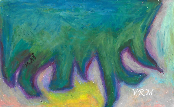 Good Luck Ignites, oil pastel on paper, 5.5x8 inches, available