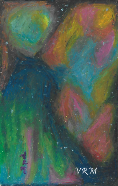 Spacey, oil pastel on paper, 5.5x8 inches, available